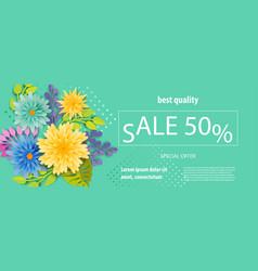 horizontal paper tropical flower sale banner vector image