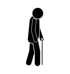 icon silhouette elderly man with walking stick vector image
