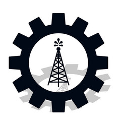 Industry icon silhouette oil fountain in gear vector