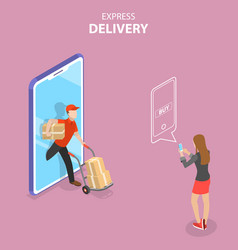 isometric flat concept of express delivery vector image