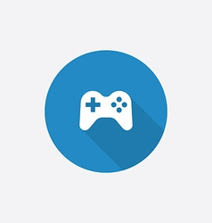 joystick Flat Blue Simple Icon with long shadow vector image