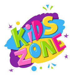kids zone bright banner label with multicolor vector image