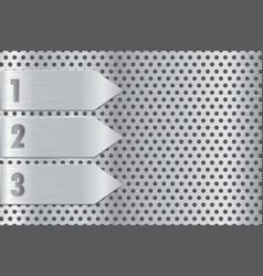 Metal perforated plate with steel arrow steel vector