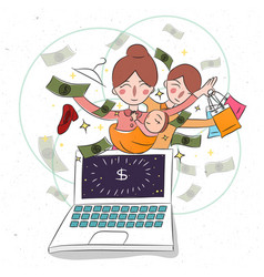 Mother and her baby childern on laptop business vector