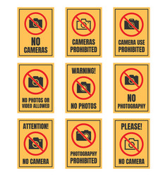 No camera use sign photo prohibited signboard no vector
