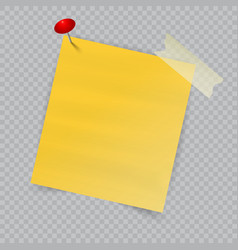note paper with pin on checkered background vector image