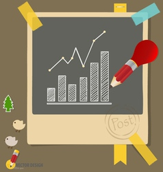 Note papers with drawing graphs vector image
