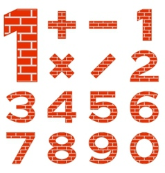 numbers set brick vector image