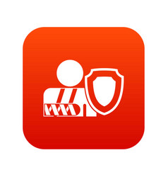 oken arm and safety shield icon digital red vector image