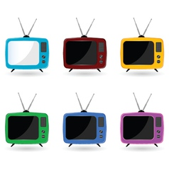 old television in six colors with antenna vector image