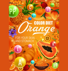 Orange fruits and vegetables color diet food vector