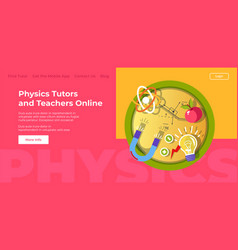 Physics tutors and teachers online website page vector