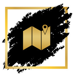 pin on the map golden icon at black spot vector image