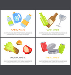 Plastic glass organic and metal waste collection vector