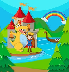 Prince and dragon in the fairy land vector