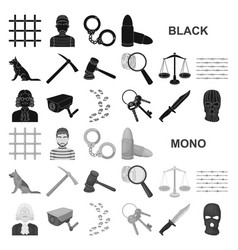 Prison and the criminal black icons in set vector