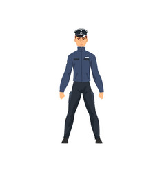 professional policeman character in dark blue vector image