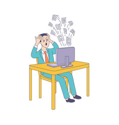 Puzzled young man information overload vector