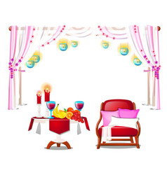 red armchair with pillows wooden table with fresh vector image