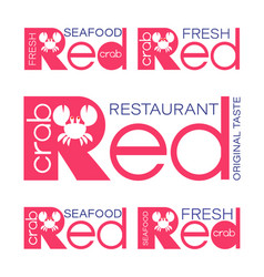 Red crab restaurant logo seafood restaurant vector