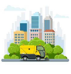 road sweeper dust cleaner road sweeper special vector image