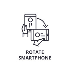 rotate smartphone line icon outline sign linear vector image