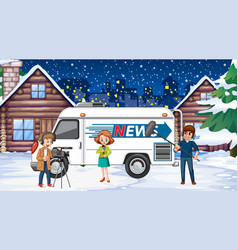 scene with news reporter and crew on snowy vector image