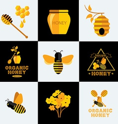 Set Honey icons and labels vector