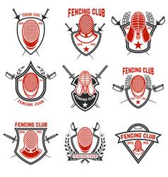Set of fencing club labels fencing swords design vector