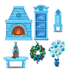 set of furniture and accessories interior made of vector image