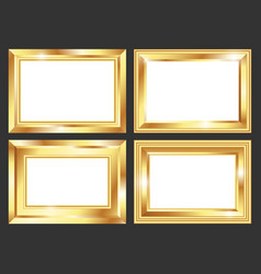 set of golden frame vector image