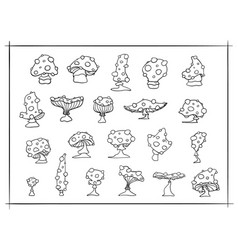 set of outline fly agaric mushrooms vector image