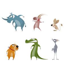 Six funny animals vector