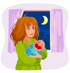 sleepy mother vector image
