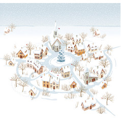 small winter town for christmas cards vector image