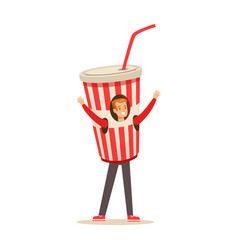 Smiling man wearing cup of soda drink costume vector
