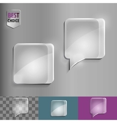 Square glass speech bubble icons with soft shadow vector image