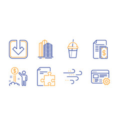 Strategy payment and windy weather icons set vector
