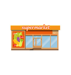 Supermarket facade store with showcase vector
