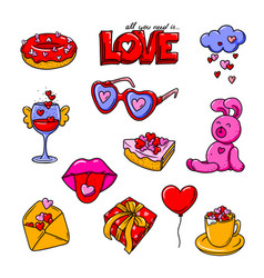 valentine s day colorful doodles collection vector image