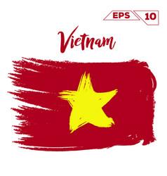Vietnam flag brush strokes painted vector
