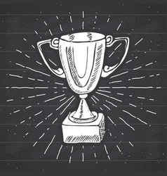 vintage label hand drawn sport trophy winners vector image