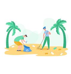 volunteer people gathering garbage plastic waste vector image