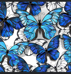 White seamless pattern with blue butterflies vector