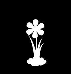White silhouette of flower growing in soil vector
