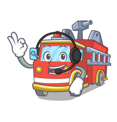 with headphone fire truck mascot cartoon vector image