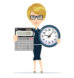 Woman holding an electronic calculator and clock vector