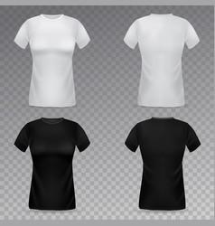 Women t-shirt mockup realistic black vector