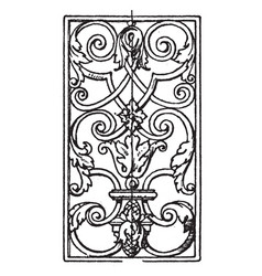 wrought-iron oblong panel is an 18th century vector image