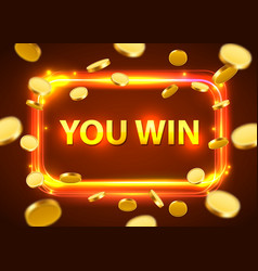 you win shining retro banner with flying coins vector image